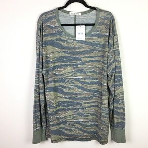 Free People Arielle Tiger Combo Long Sleeve Top